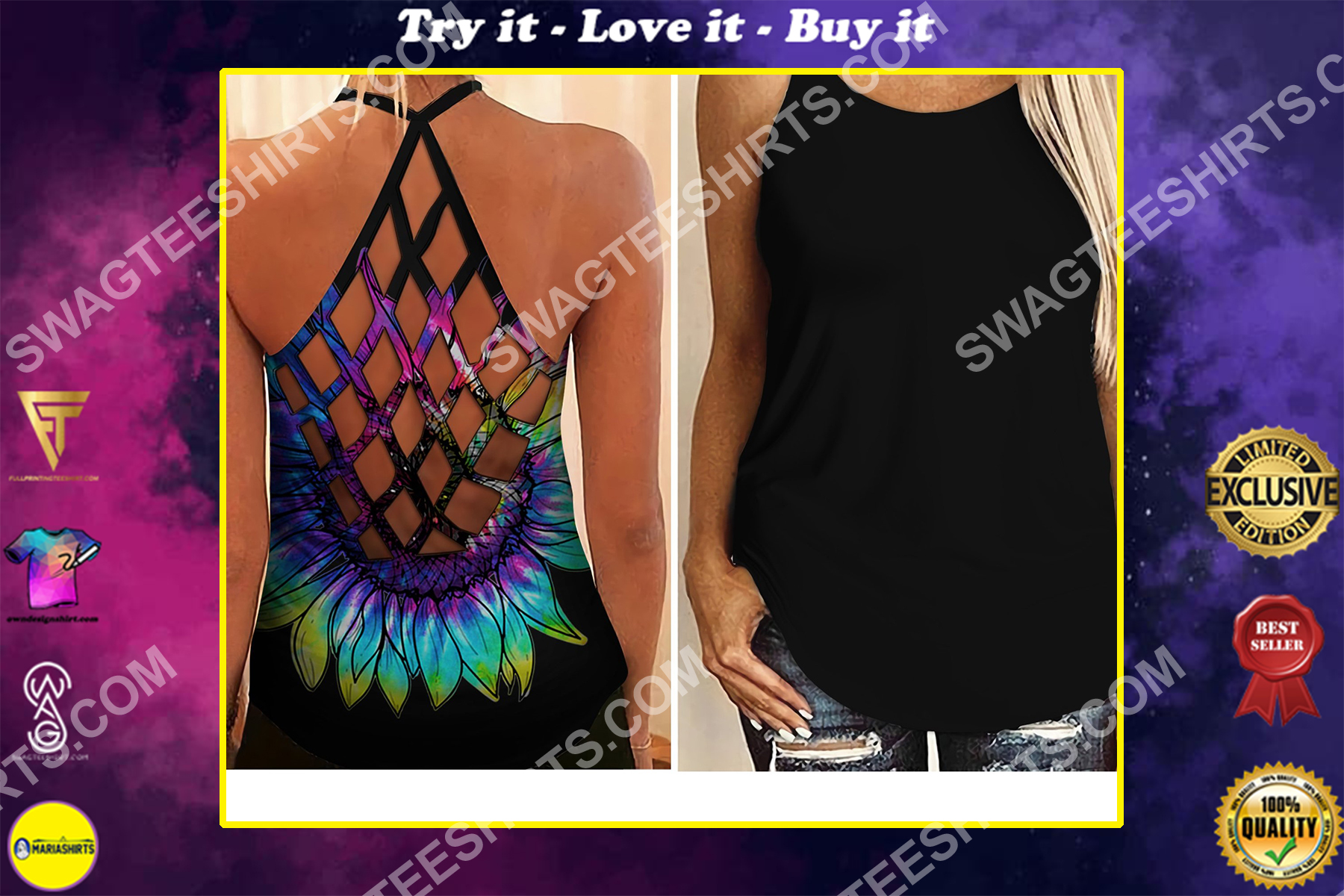 sunflower colorful all over printed strappy back tank top