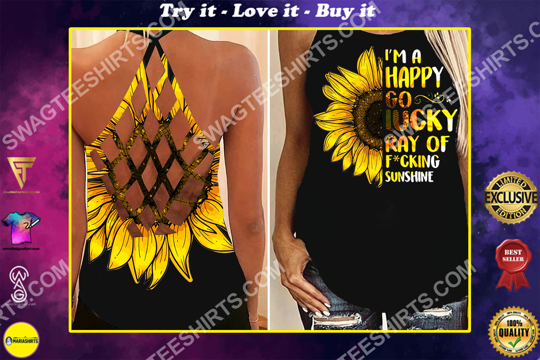 sunflower girl all over printed strappy back tank top