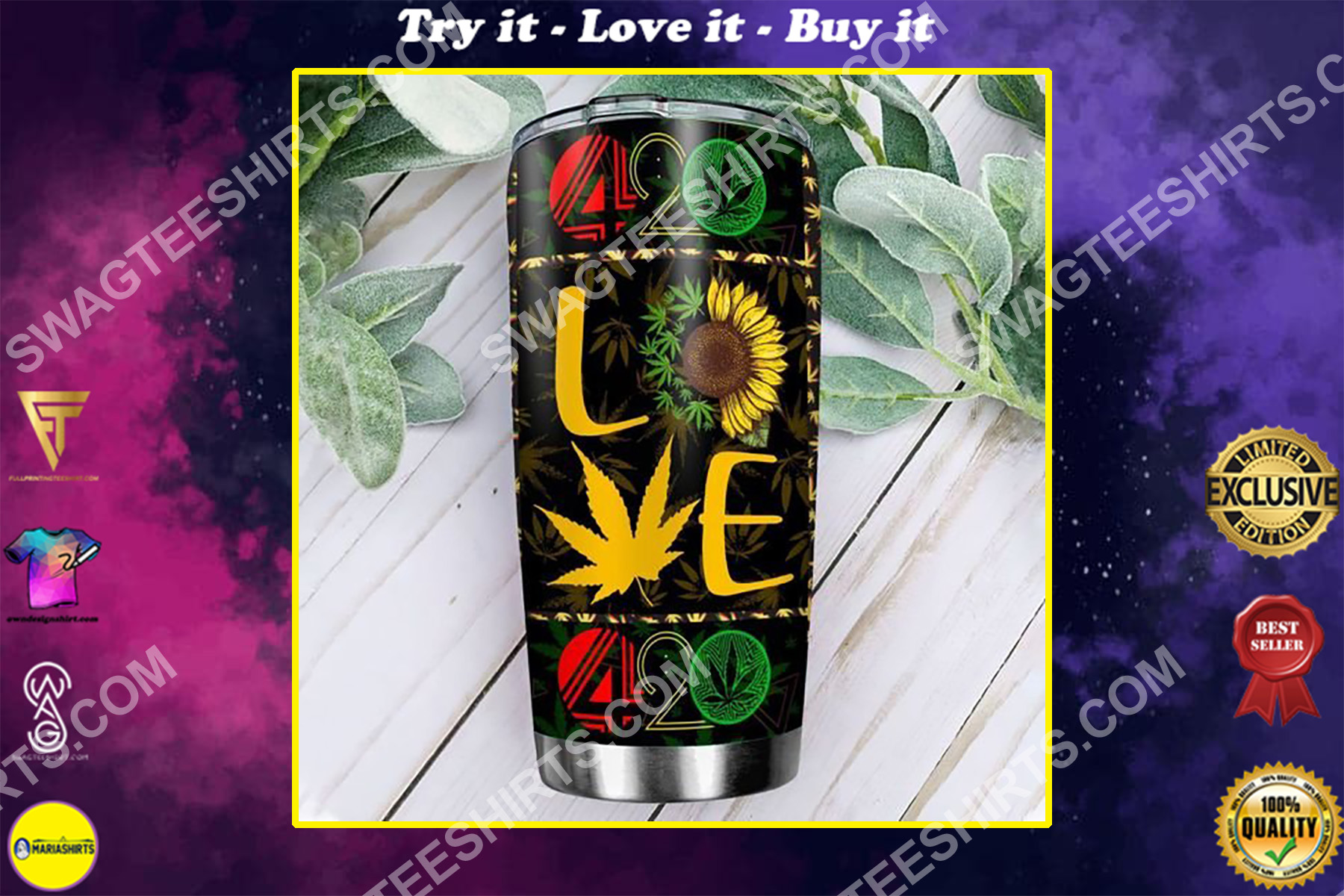 sunflower love weed leaf 420 all over printed stainless steel tumbler