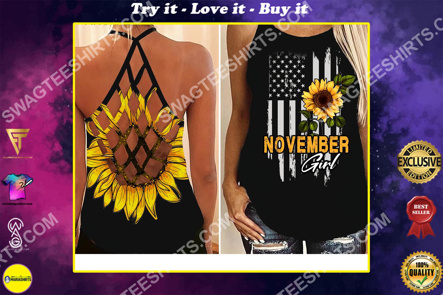 sunflower november girl america flag all over printed strappy back tank top