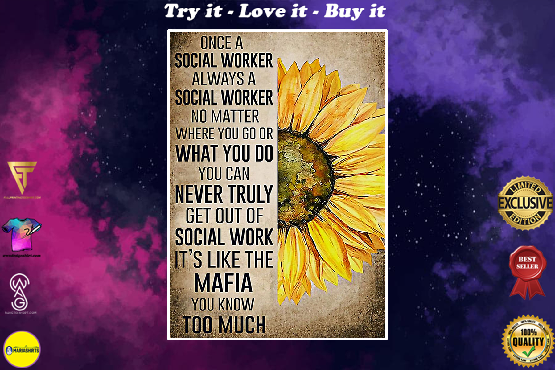 sunflower once a social worker always a social worker no matter where you go poster