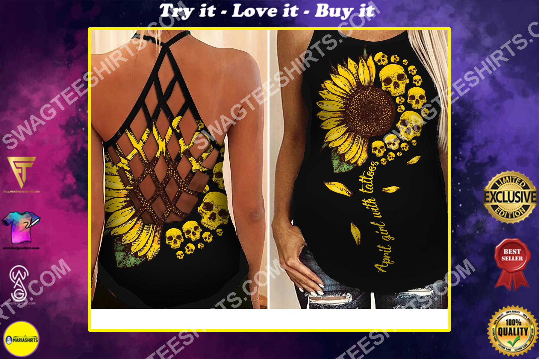 sunflower skull april girl birthday gift strappy back tank top