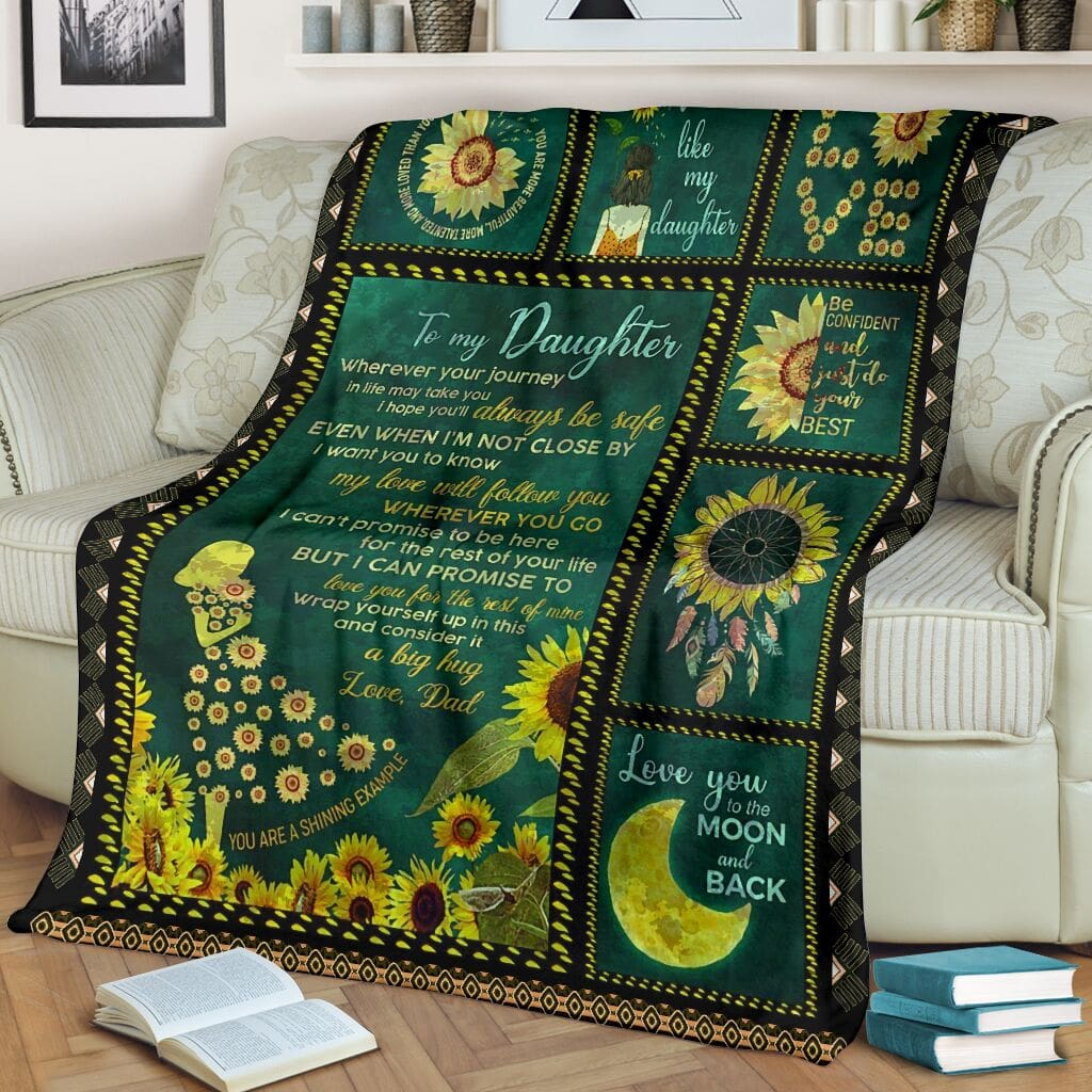 sunflower to my daughter i love you to the moon and back full printing blanket 2