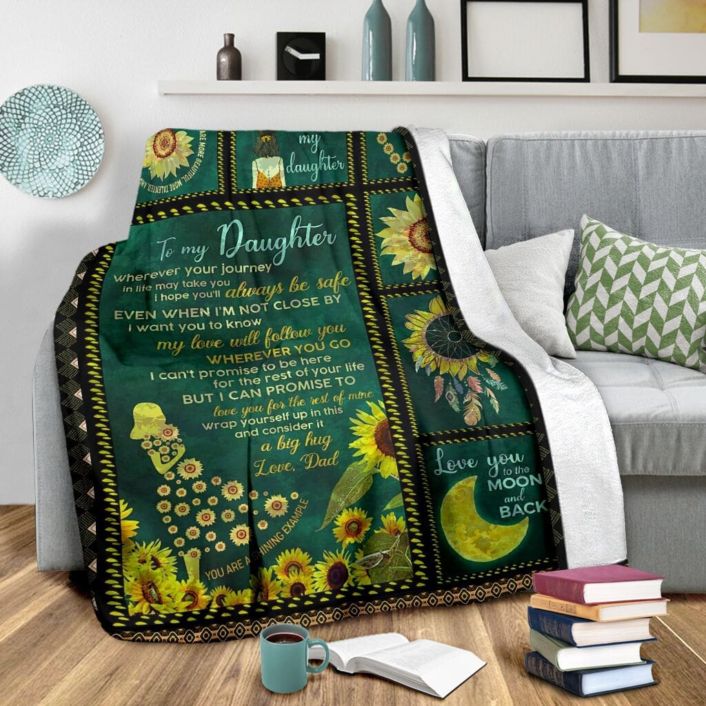 sunflower to my daughter i love you to the moon and back full printing blanket 3