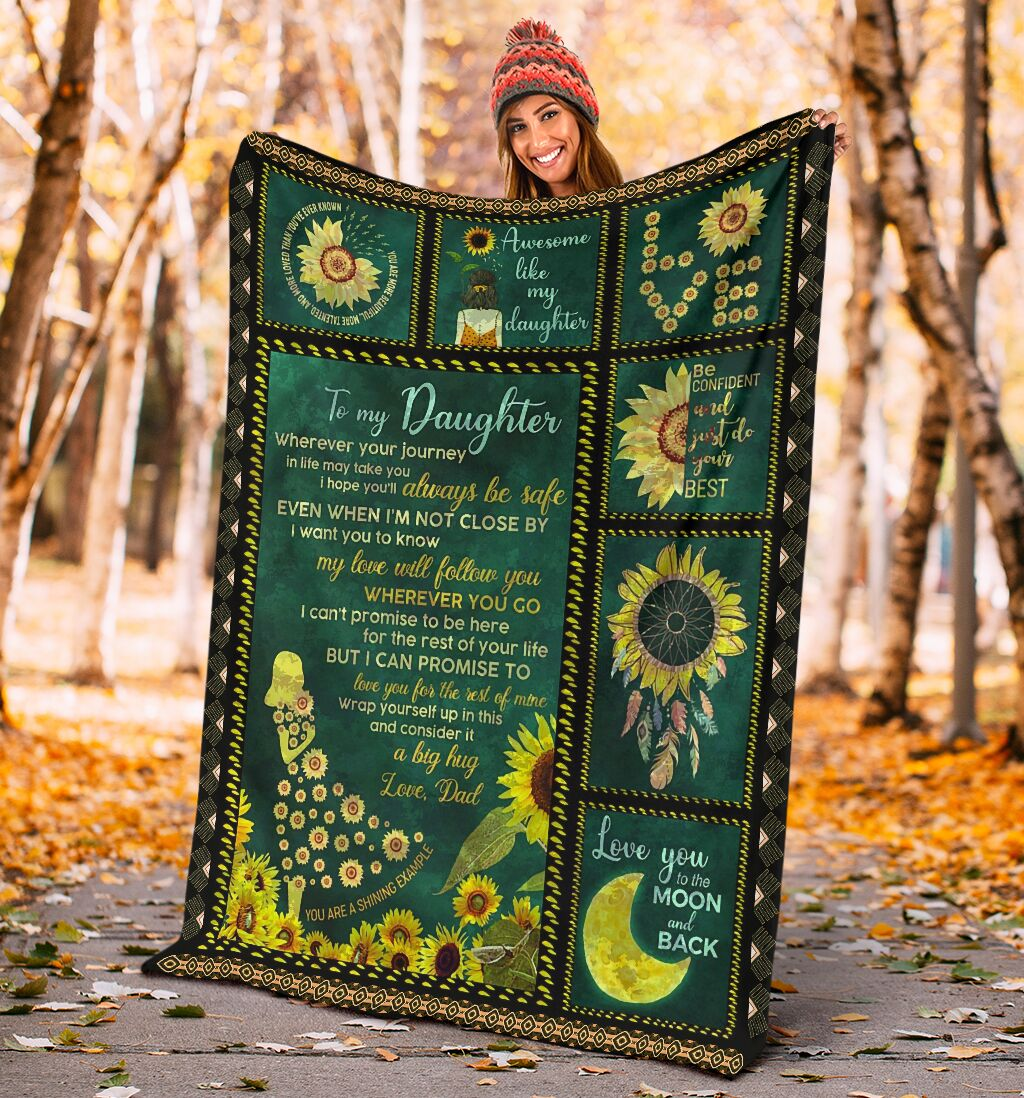 sunflower to my daughter i love you to the moon and back full printing blanket 4