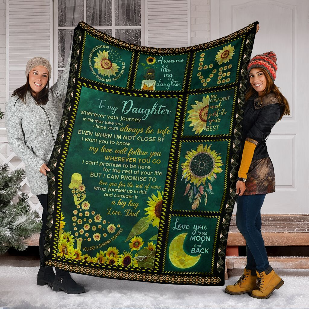 sunflower to my daughter i love you to the moon and back full printing blanket 5