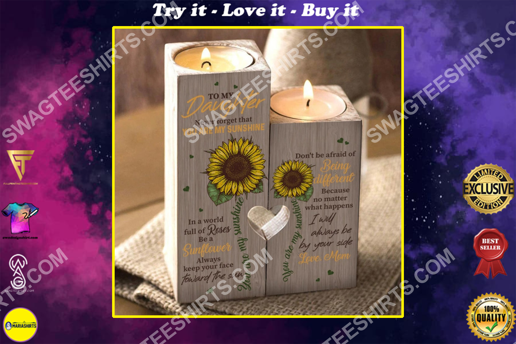 sunflower to my daughter you are my sunshine love mom candle holder