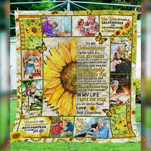 sunflower to my granddaughter i wish you all the happiness love your grandma quilt 5