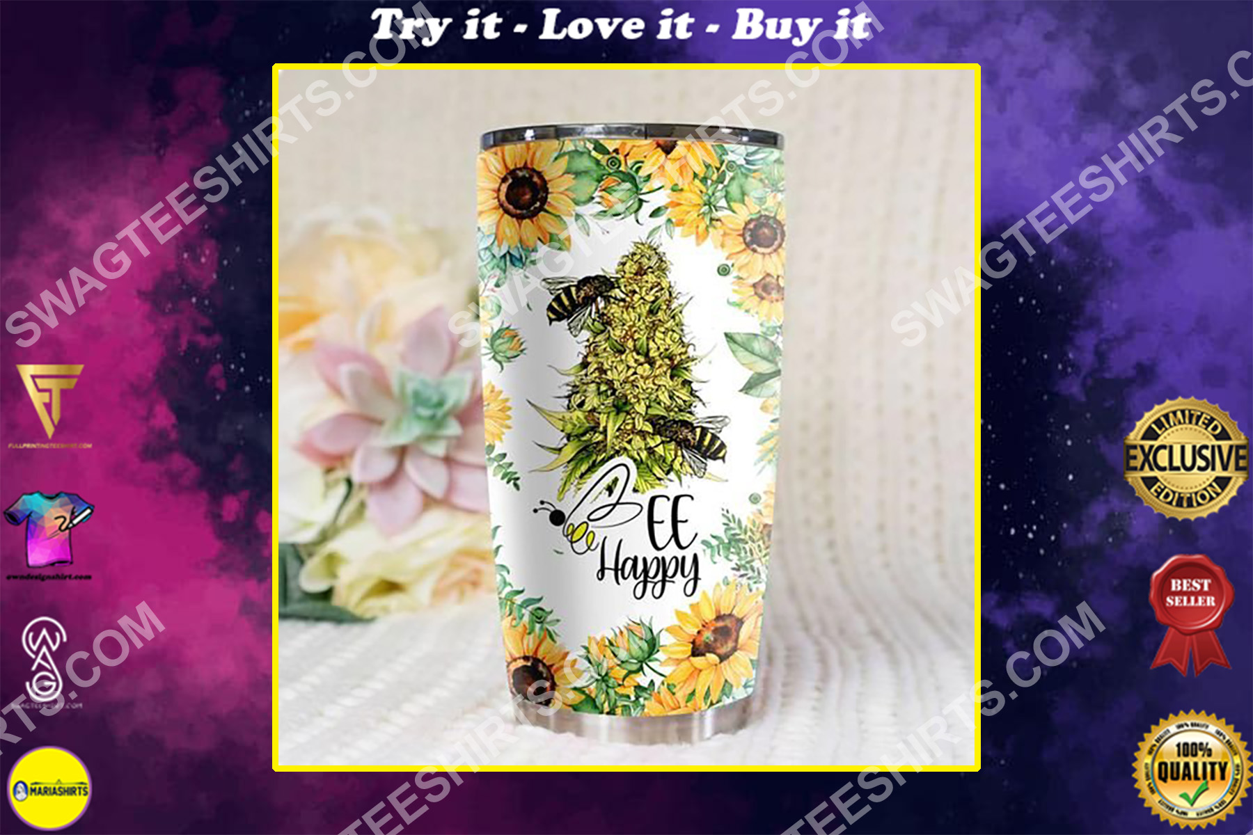 sunflower weed bee happy all over printed stainless steel tumbler