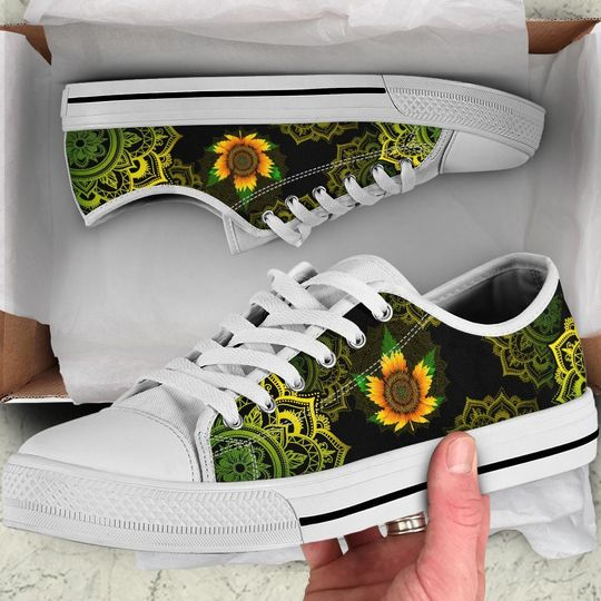 sunflower weed leaf mandala canvas low top shoes 2