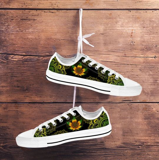 sunflower weed leaf mandala canvas low top shoes 4