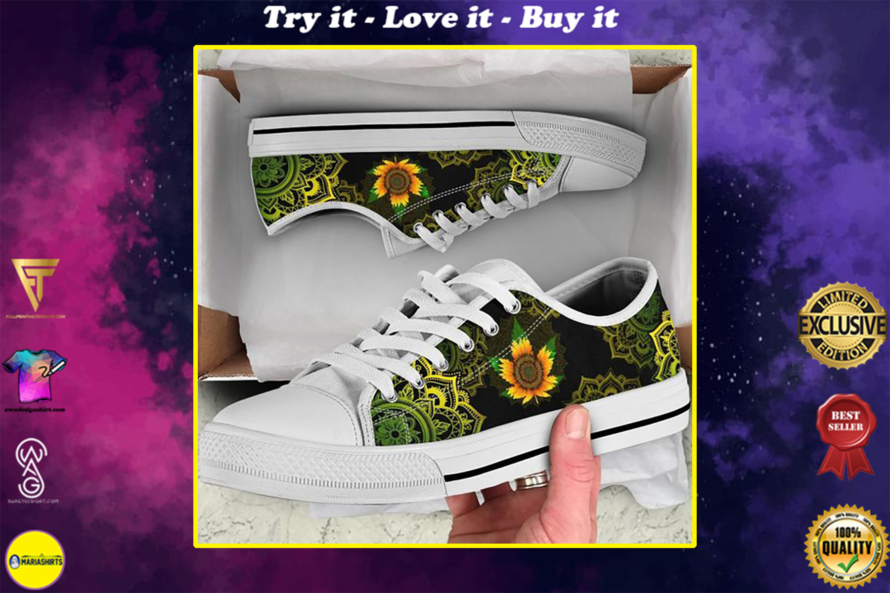 sunflower weed leaf mandala canvas low top shoes