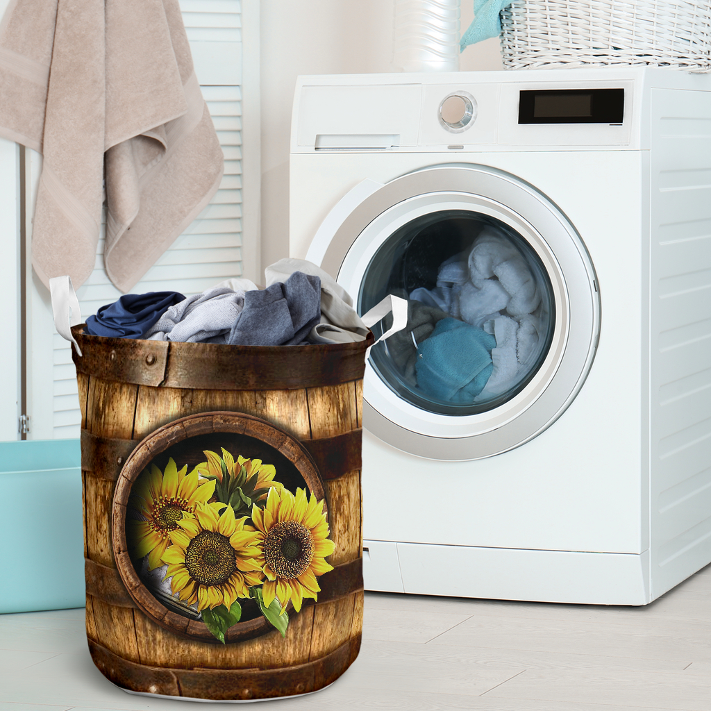 sunflower wood pattern all over printed laundry basket 5