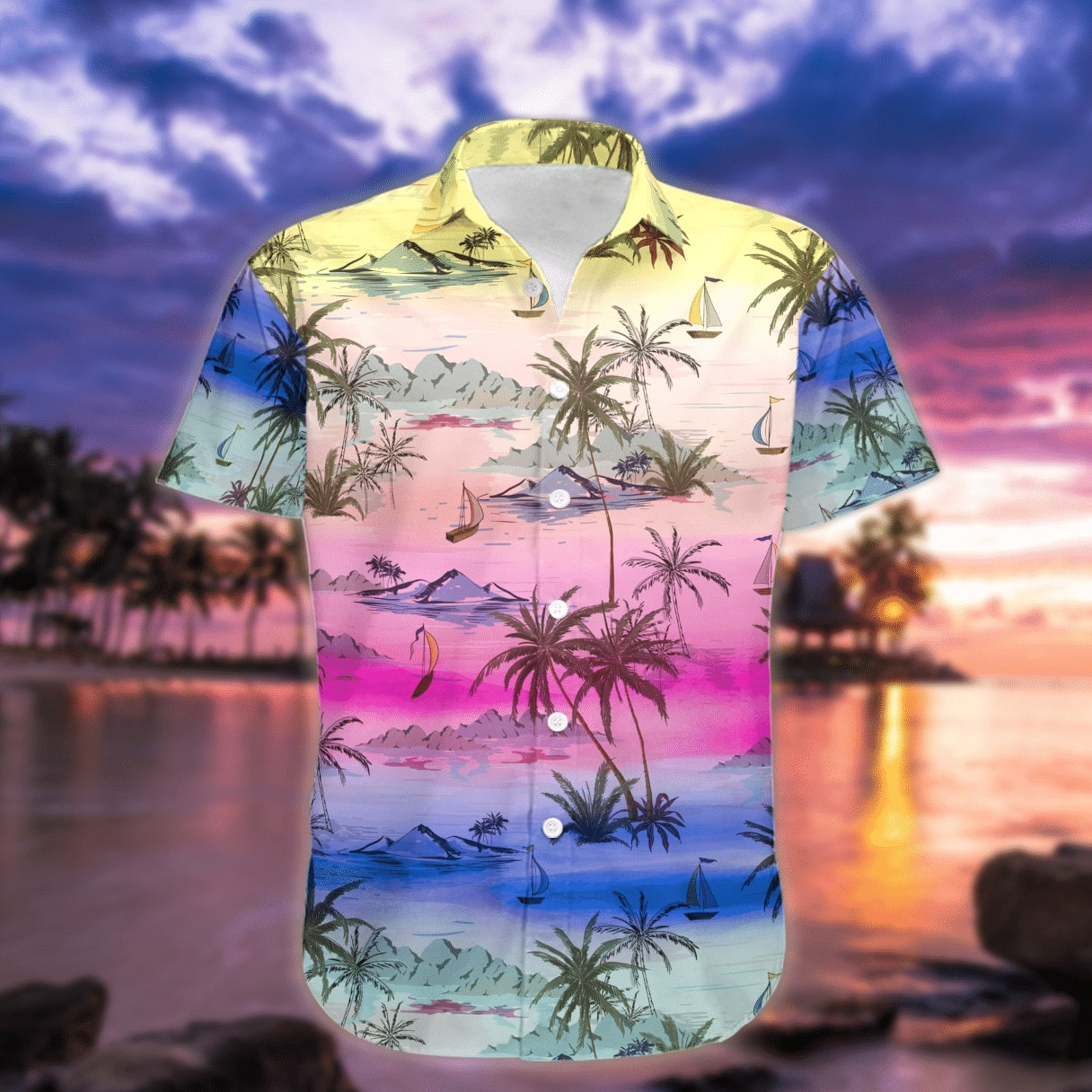 sunset on the beach all over printed hawaiian shirt 3