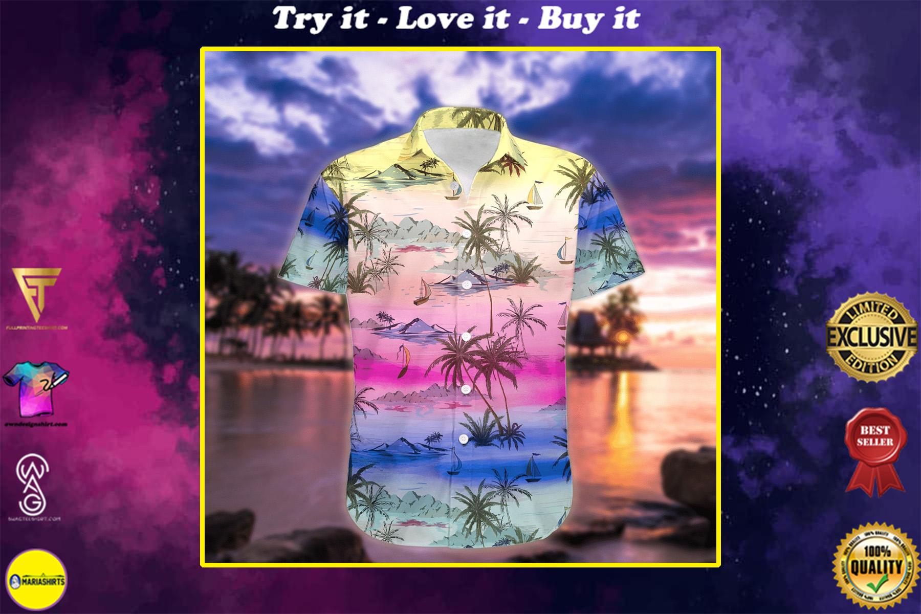 sunset on the beach all over printed hawaiian shirt