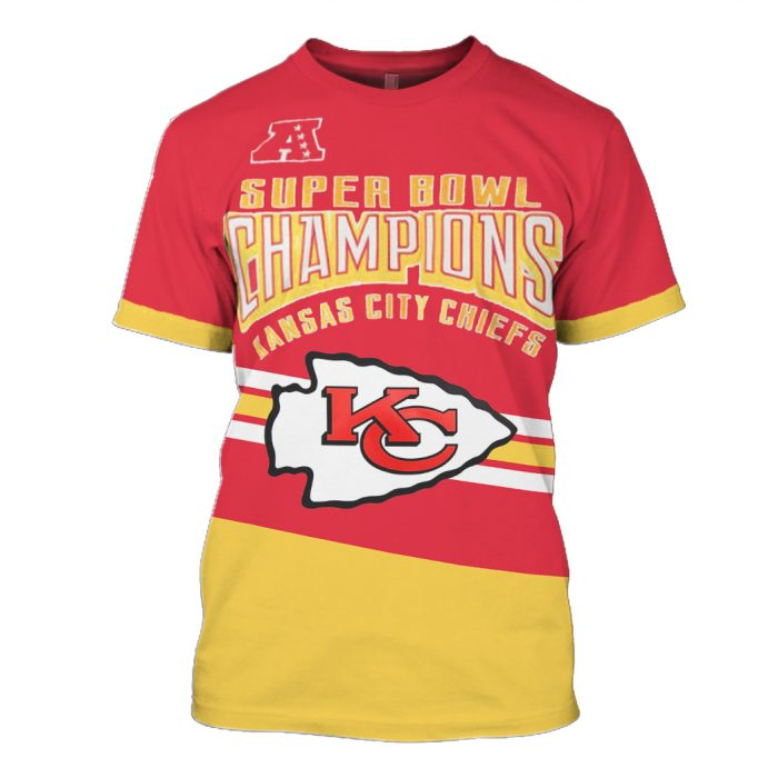 super bowl champions kansas city chiefs full over printed tshirt