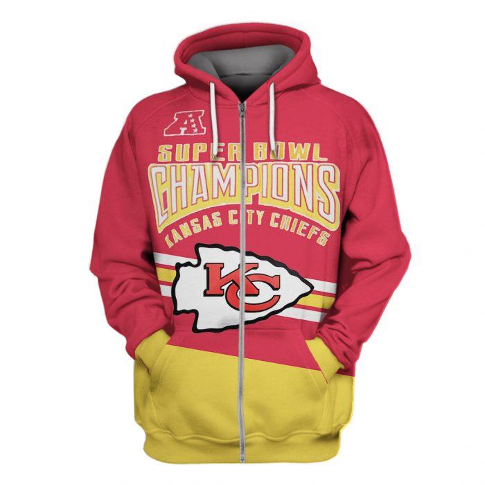 super bowl champions kansas city chiefs full over printed zip hoodie