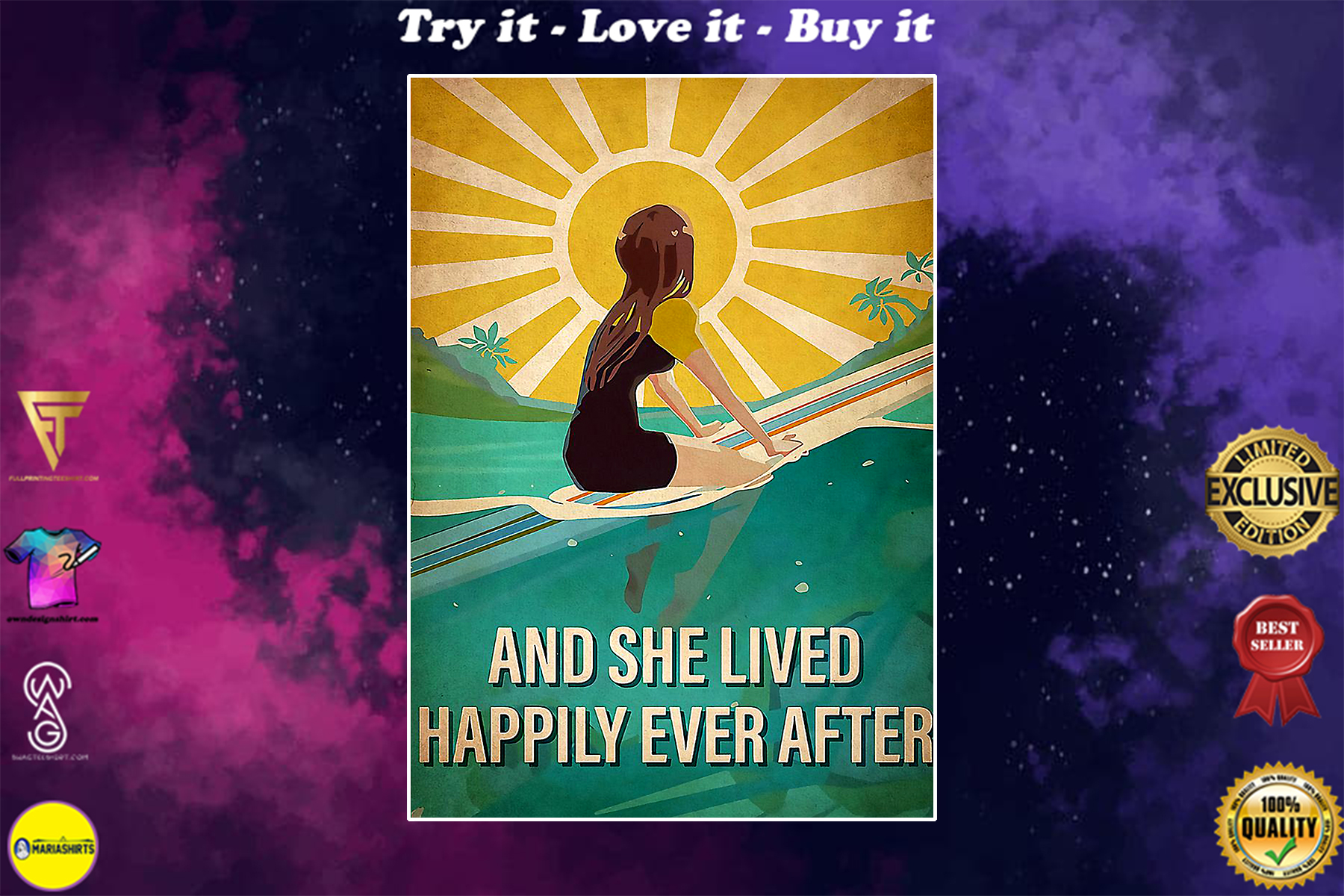 surfing and she lived happily ever after vintage poster