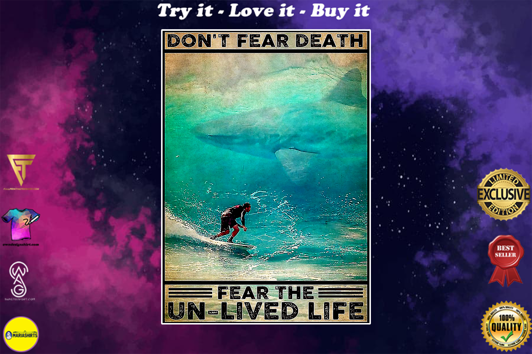 surfing dont fear death fear the un-lived life vintage poster