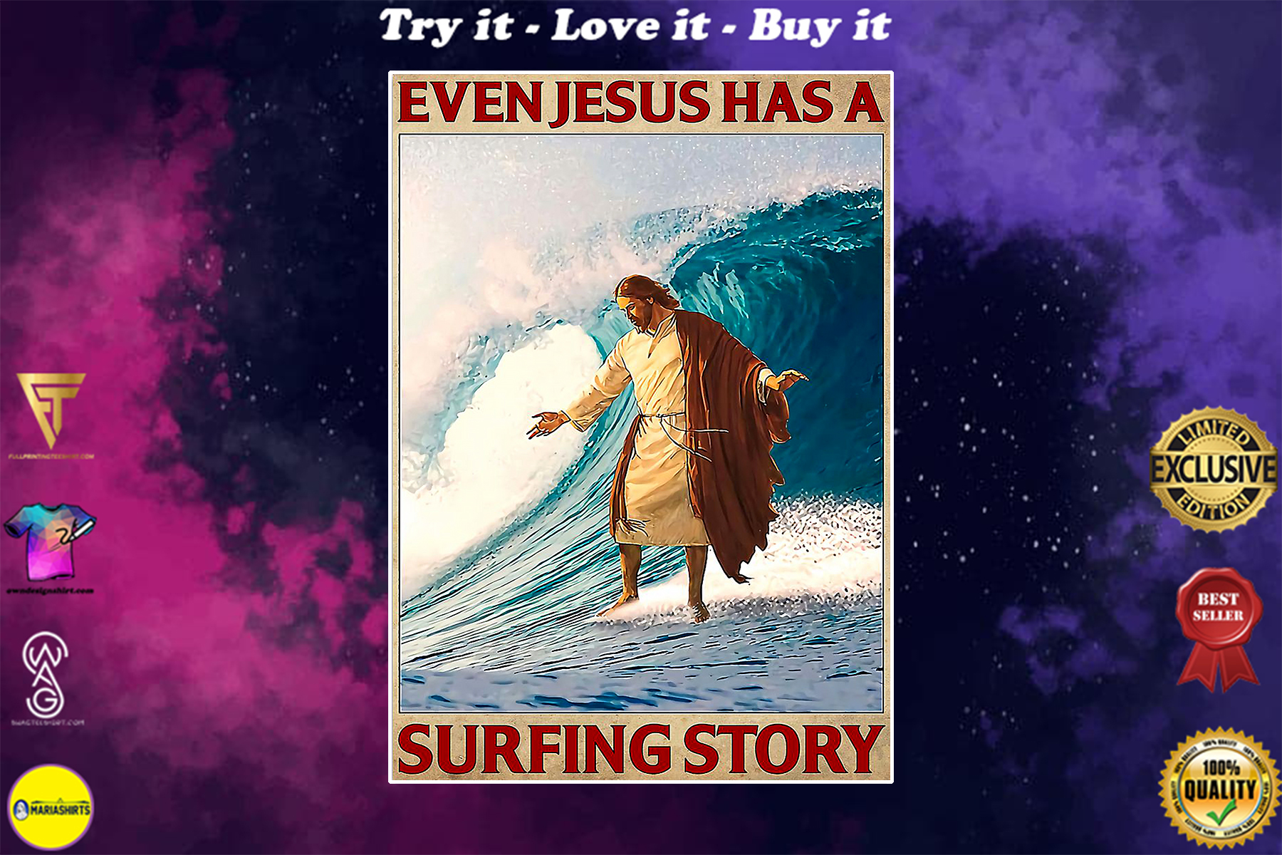 surfing even Jesus has a surfing story vintage poster