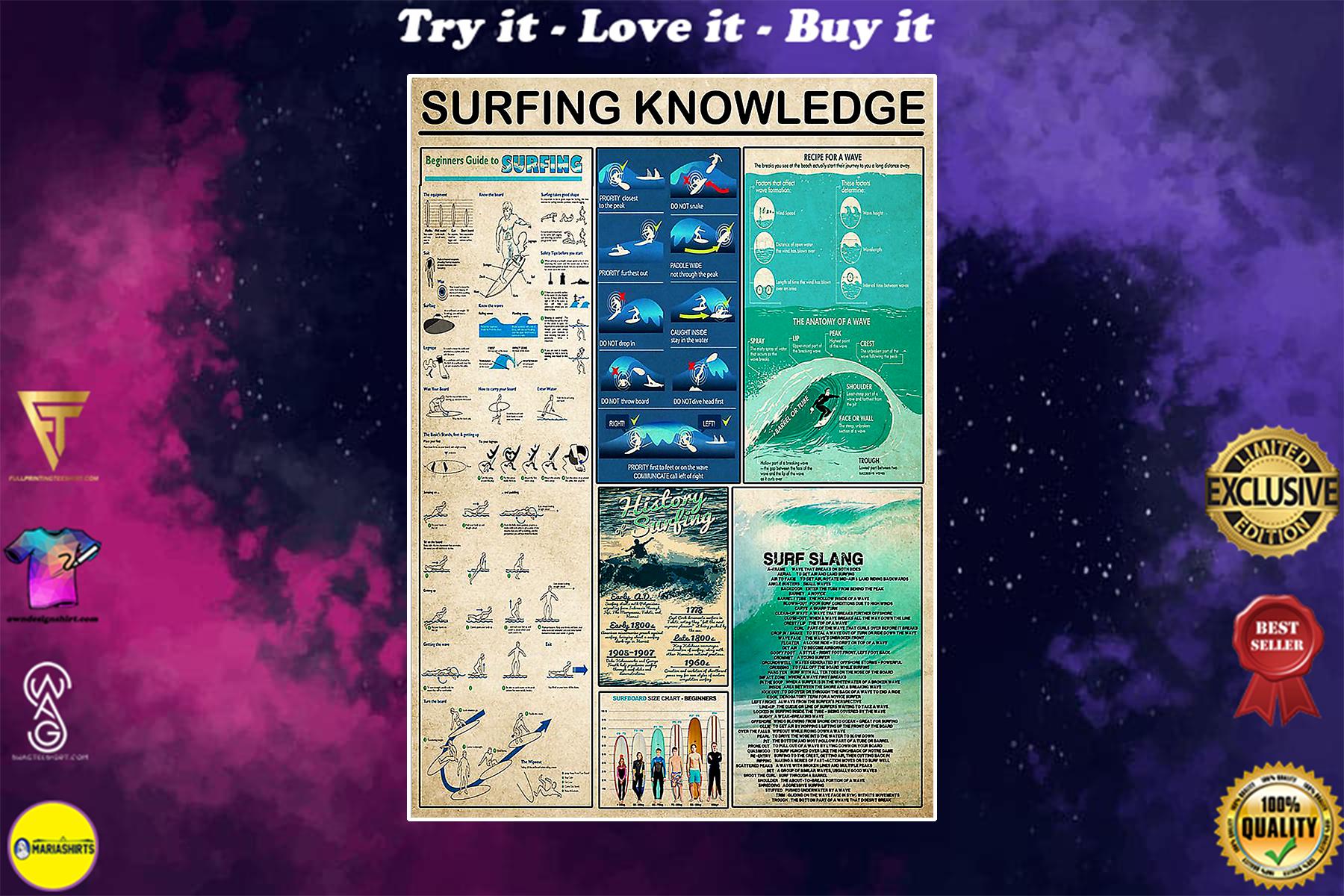 surfing knowledge vintage poster
