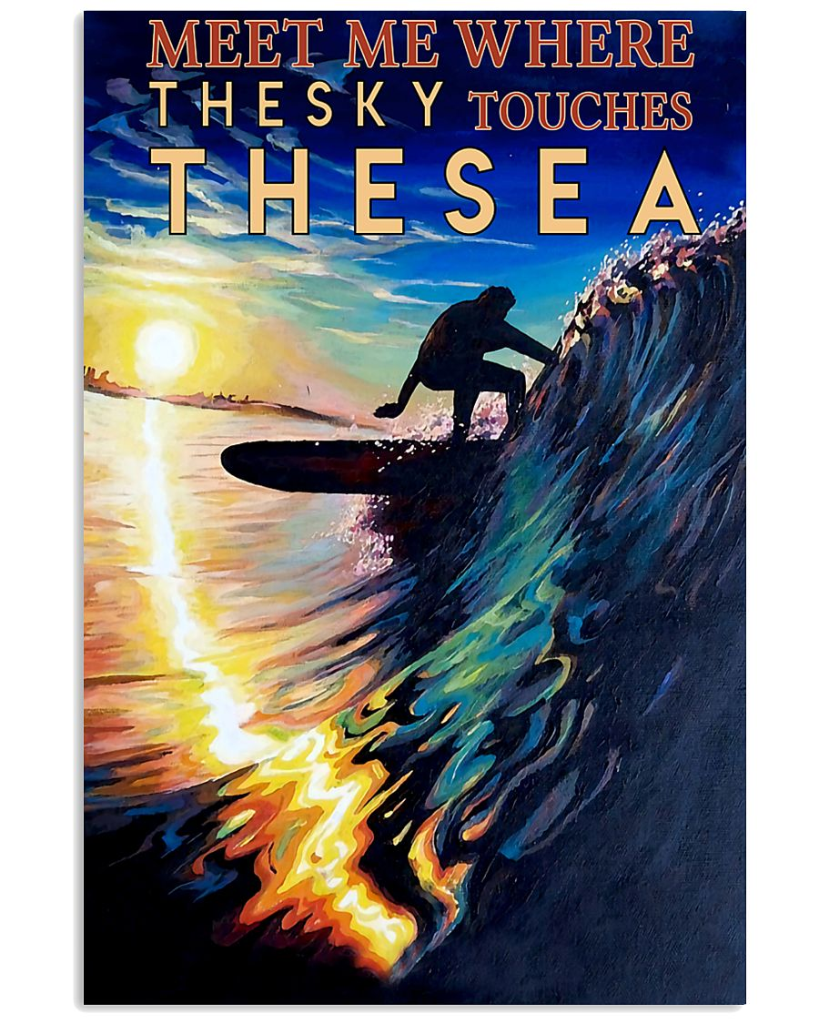 surfing meet me where the sky touches the sea vintage poster 1