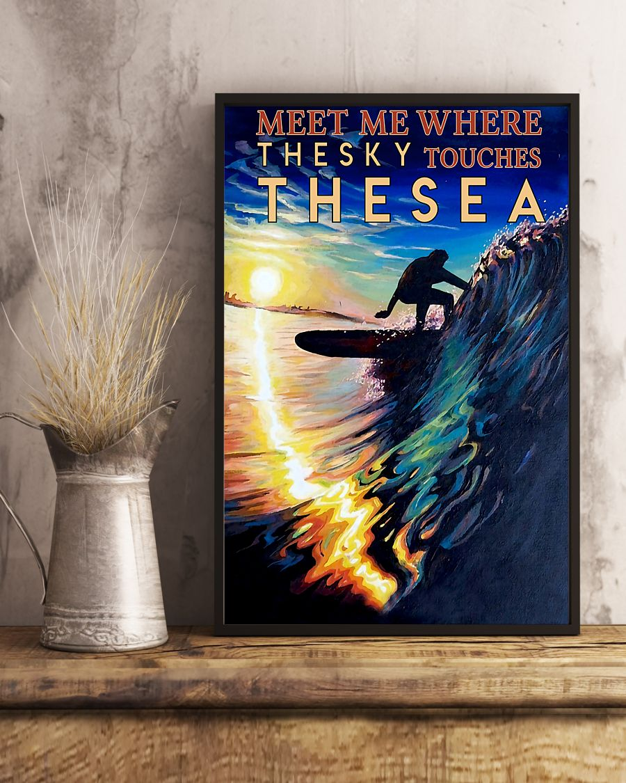surfing meet me where the sky touches the sea vintage poster 2