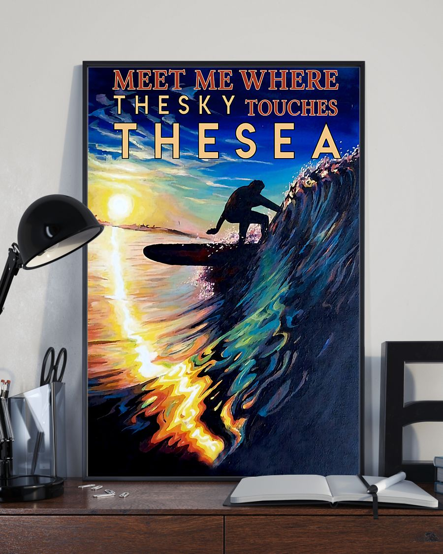 surfing meet me where the sky touches the sea vintage poster 3