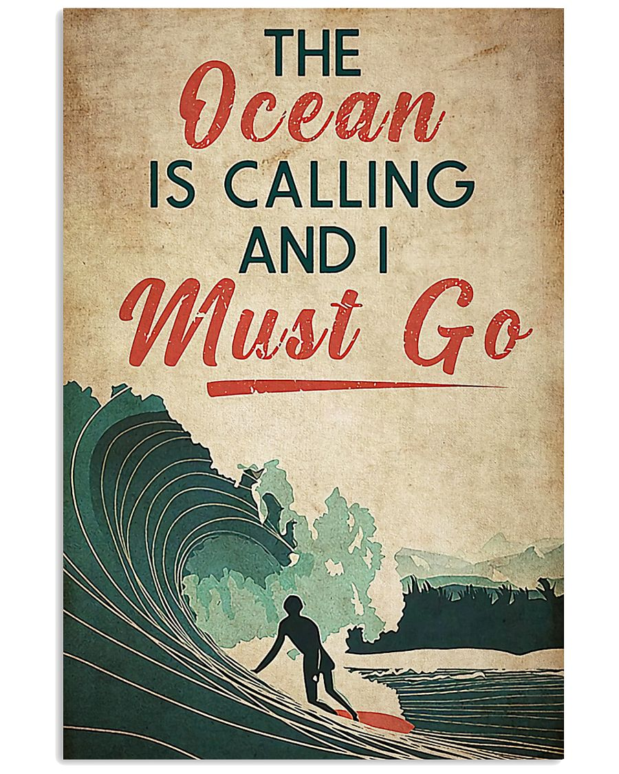 surfing the ocean is calling i must go vintage poster 1