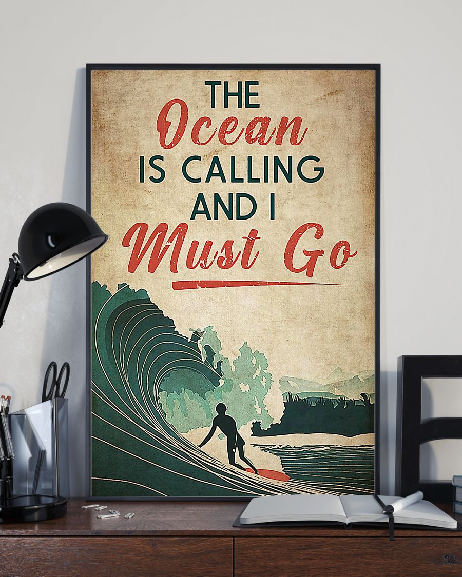 surfing the ocean is calling i must go vintage poster 2