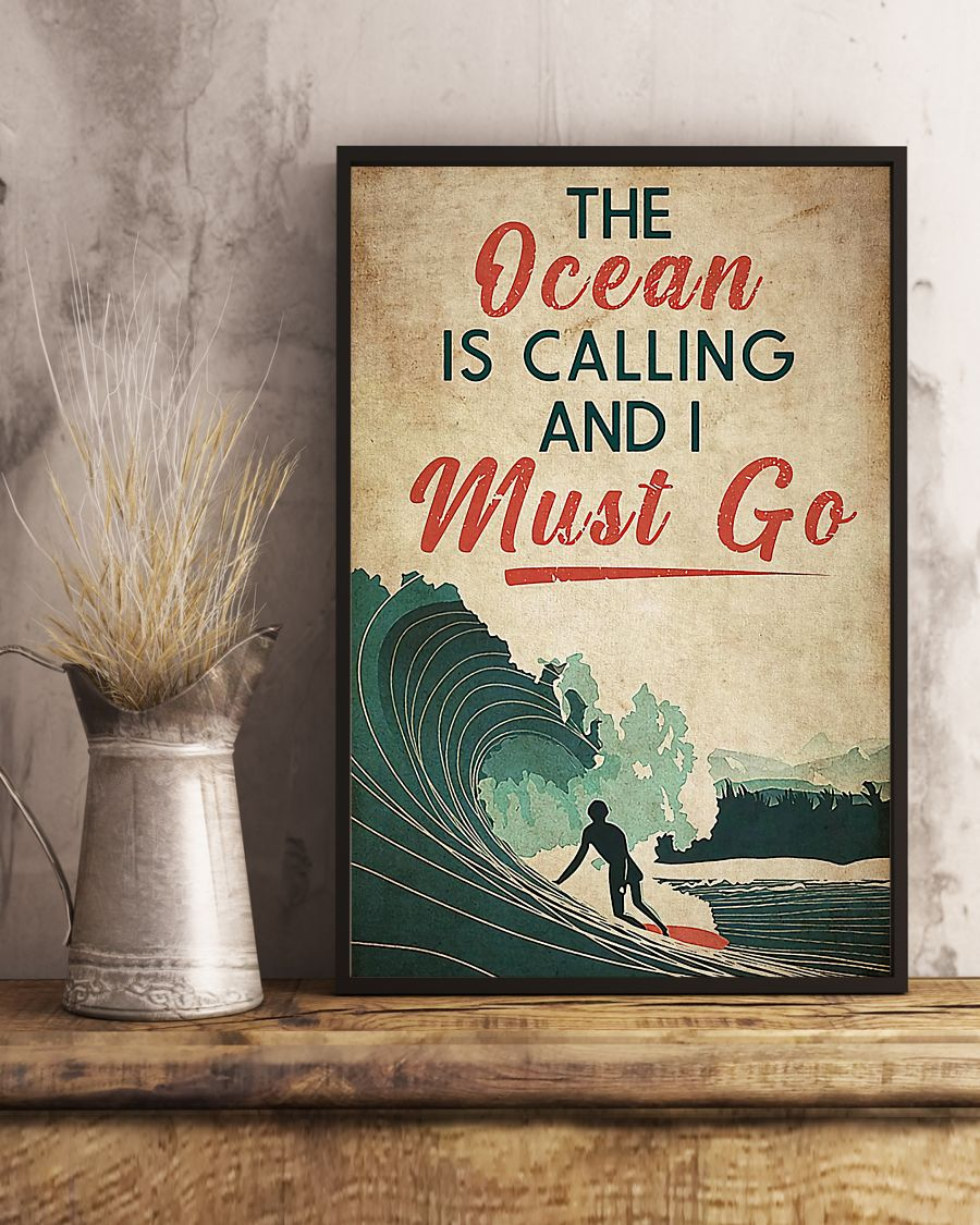 surfing the ocean is calling i must go vintage poster 3