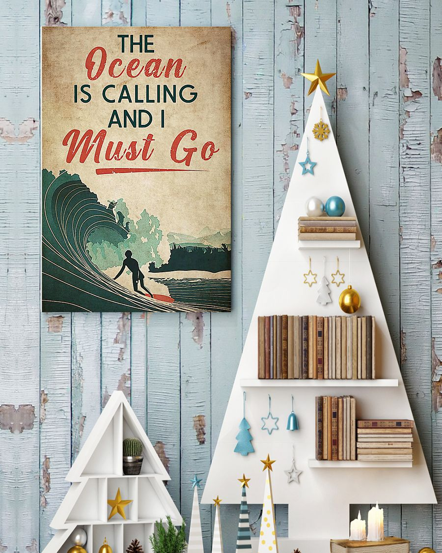 surfing the ocean is calling i must go vintage poster 4