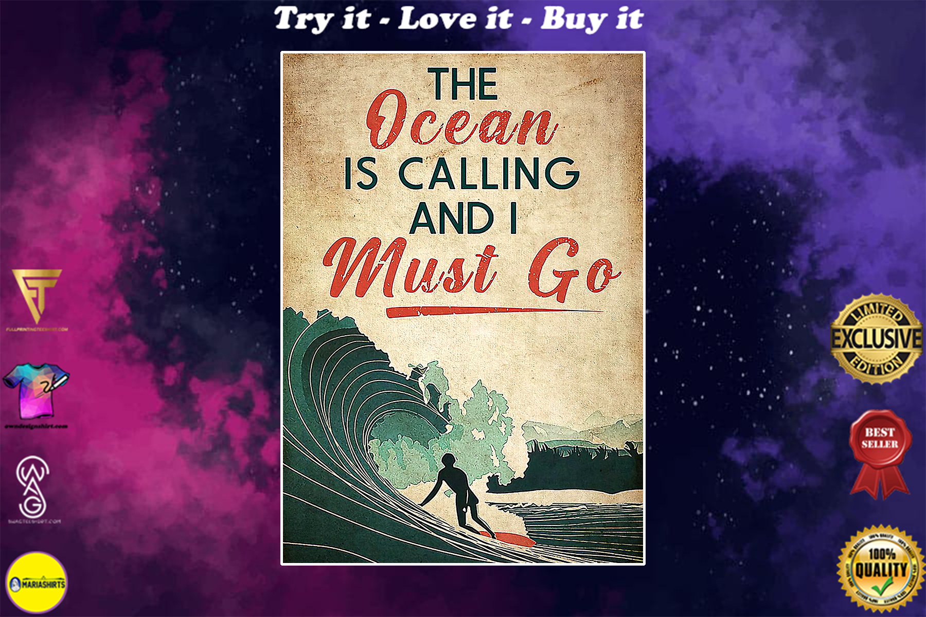 surfing the ocean is calling i must go vintage poster