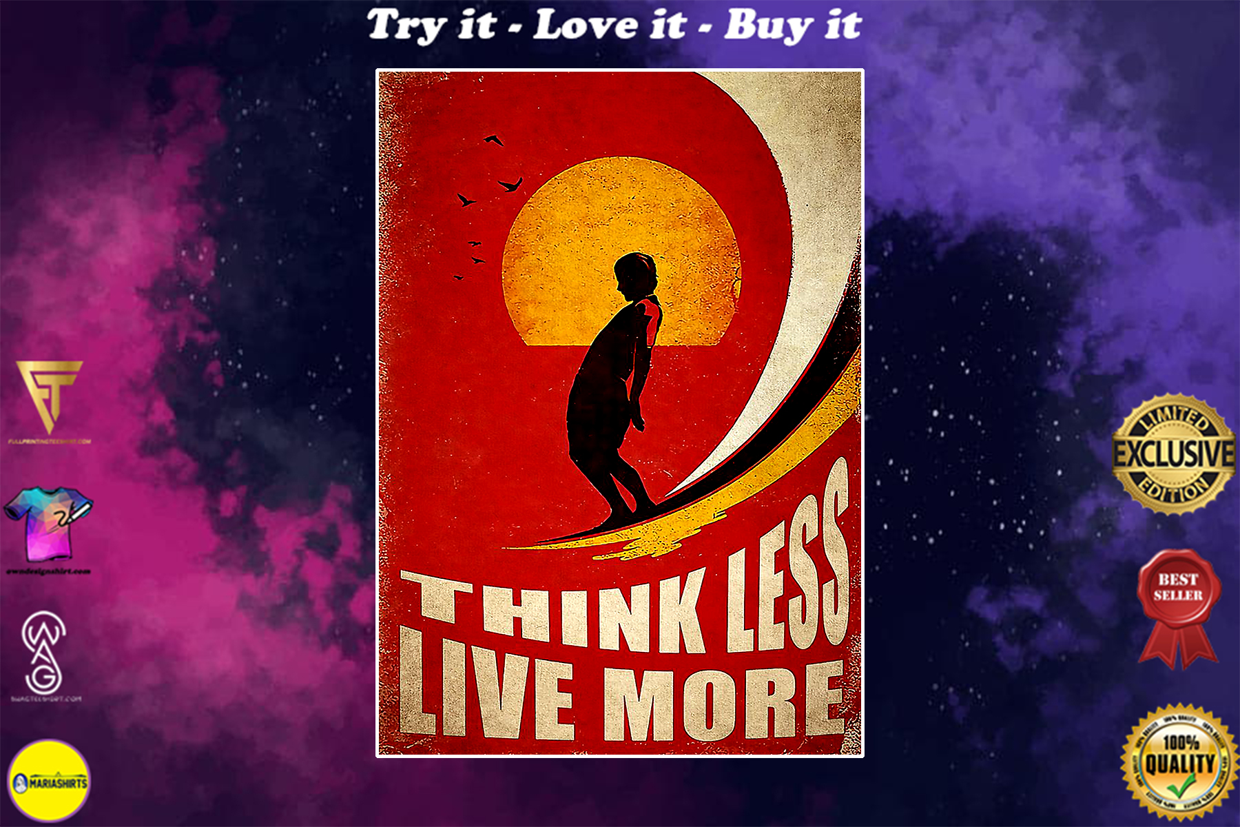 surfing think less live more vintage poster