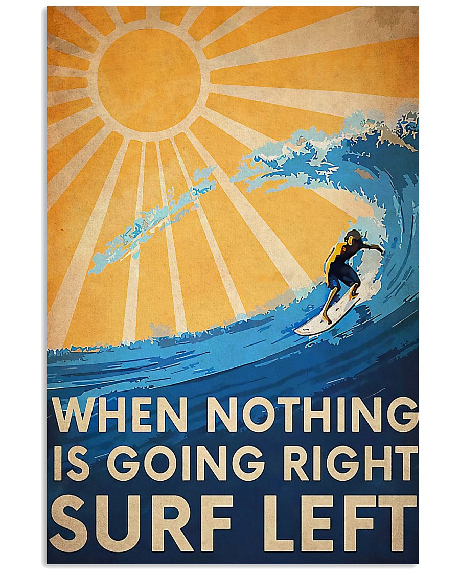surfing when nothing is going right surfing left vintage poster 1