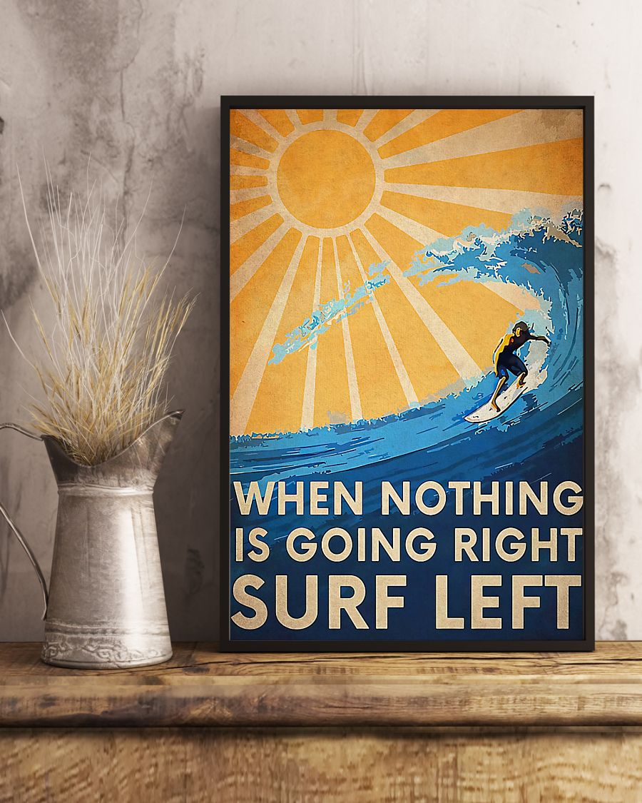 surfing when nothing is going right surfing left vintage poster 4