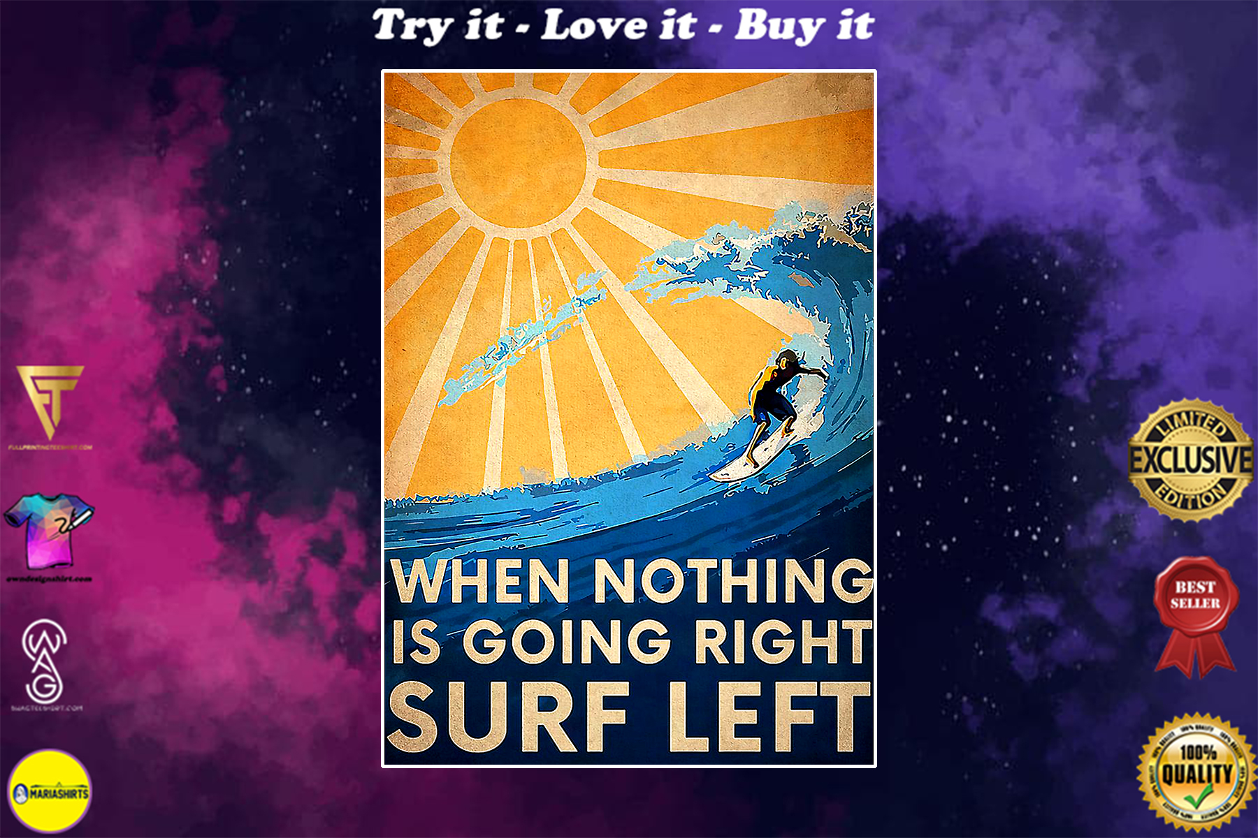 surfing when nothing is going right surfing left vintage poster