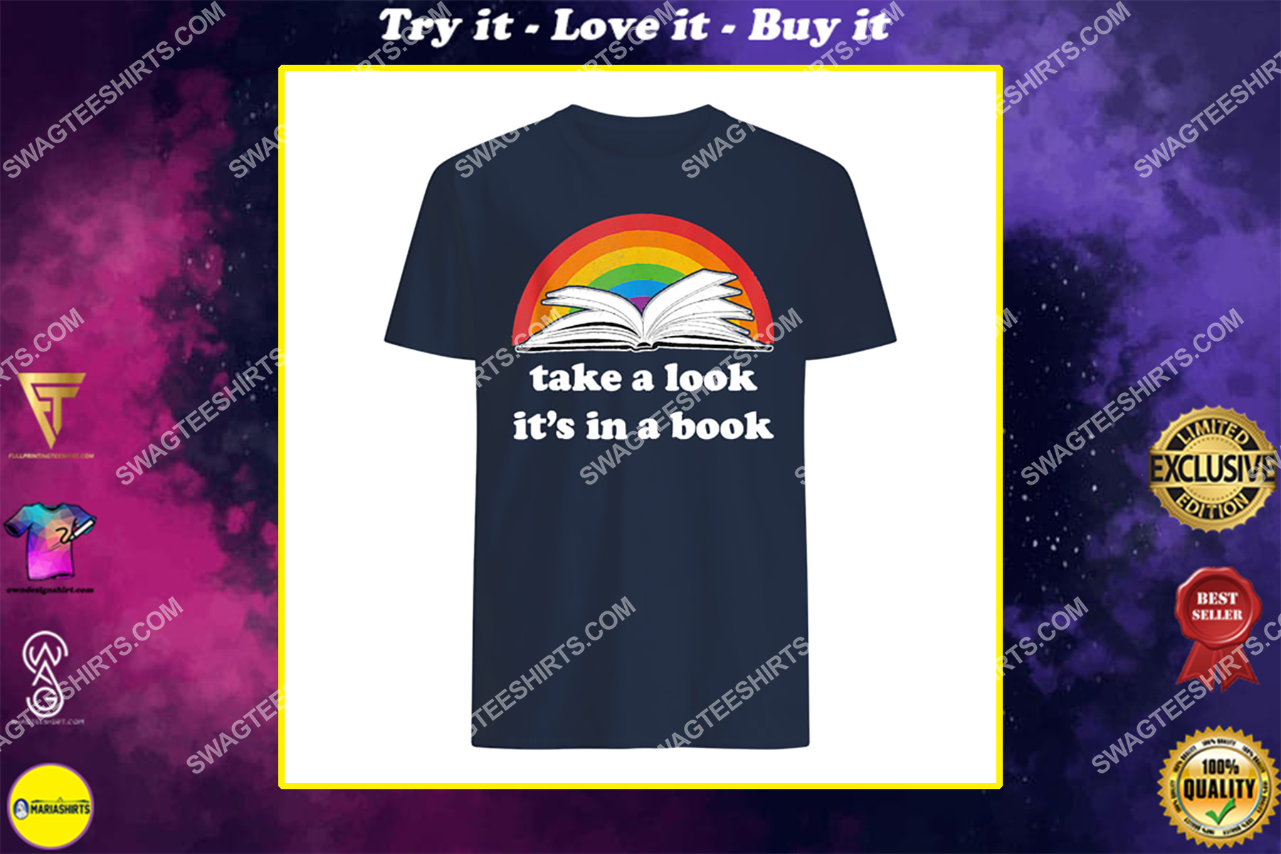 take a look it's in a book reading vintage retro rainbow shirt