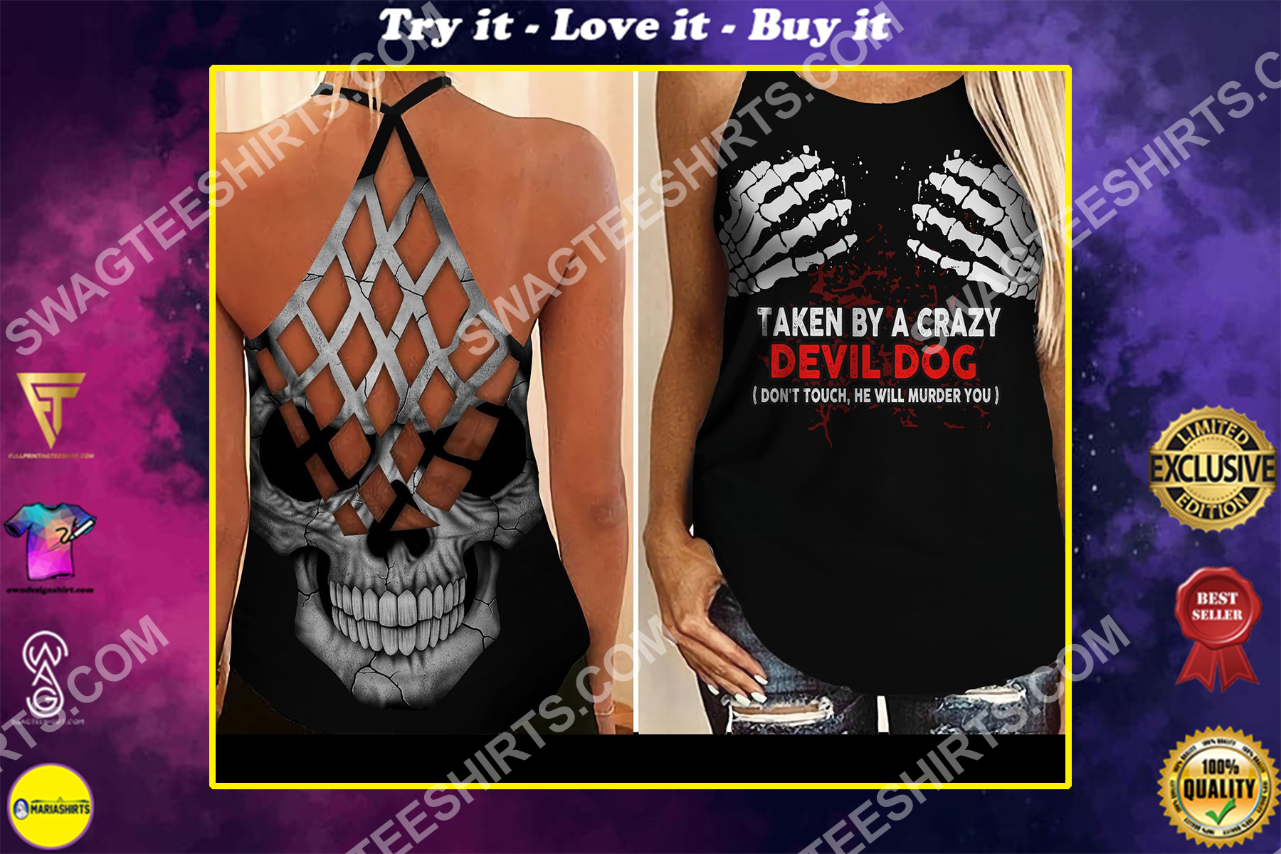 taken by a crazy devil dog all over printed strappy back tank top
