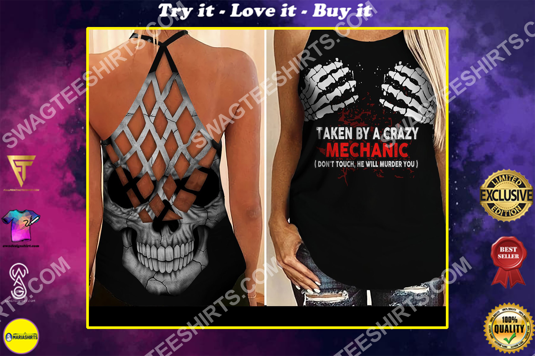 taken by a crazy mechanic all over printed strappy back tank top