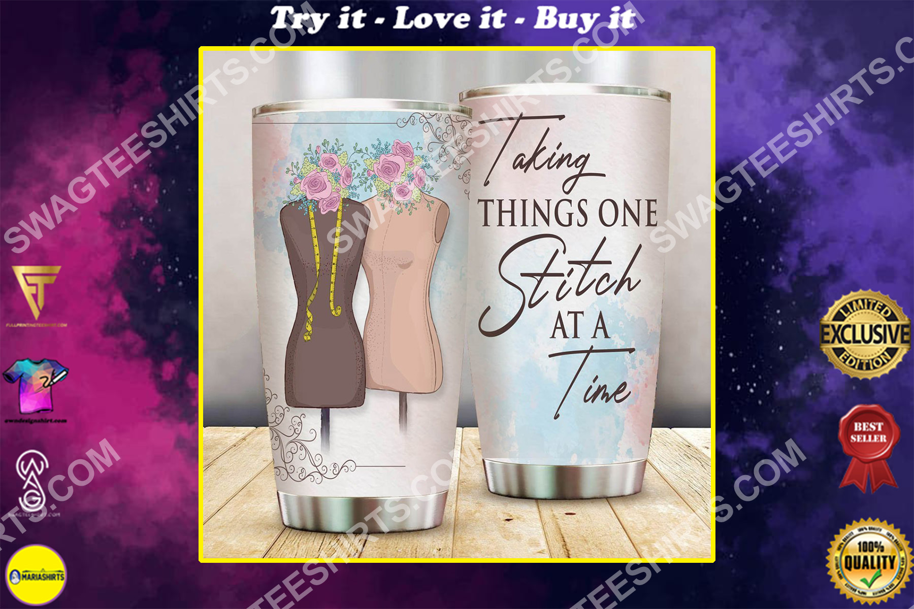 talking things one stitch at a time stainless steel tumbler