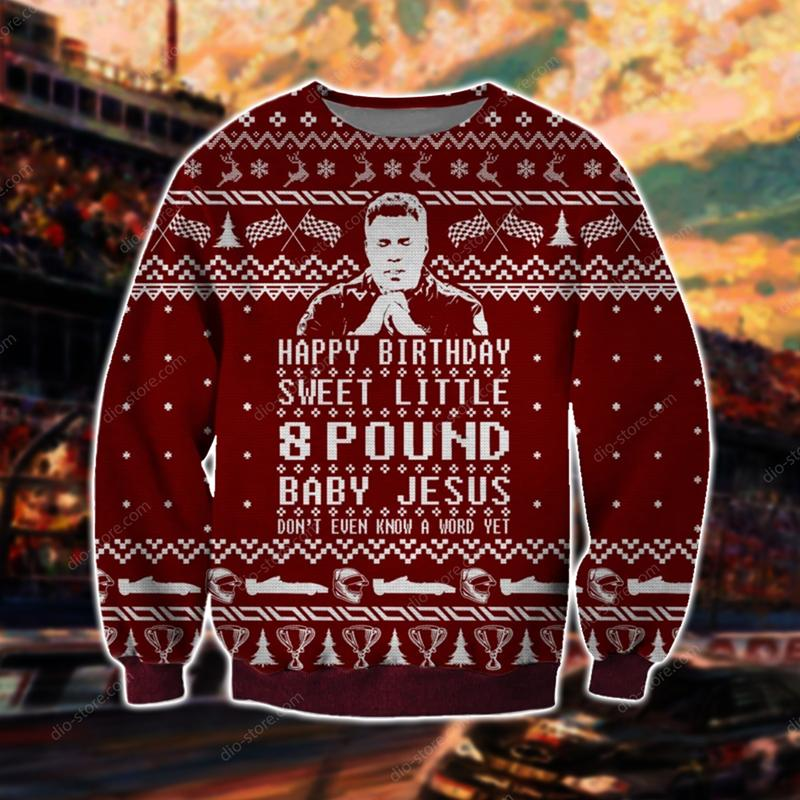 talladega nights happy birthday sweet little 8 pound baby Jesus ugly christmas sweater 3