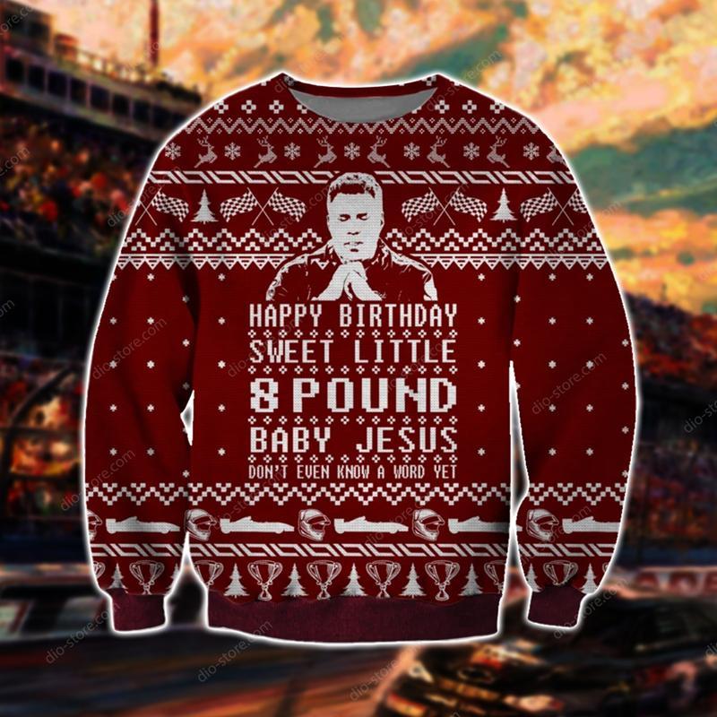 talladega nights happy birthday sweet little 8 pound baby Jesus ugly christmas sweater 4