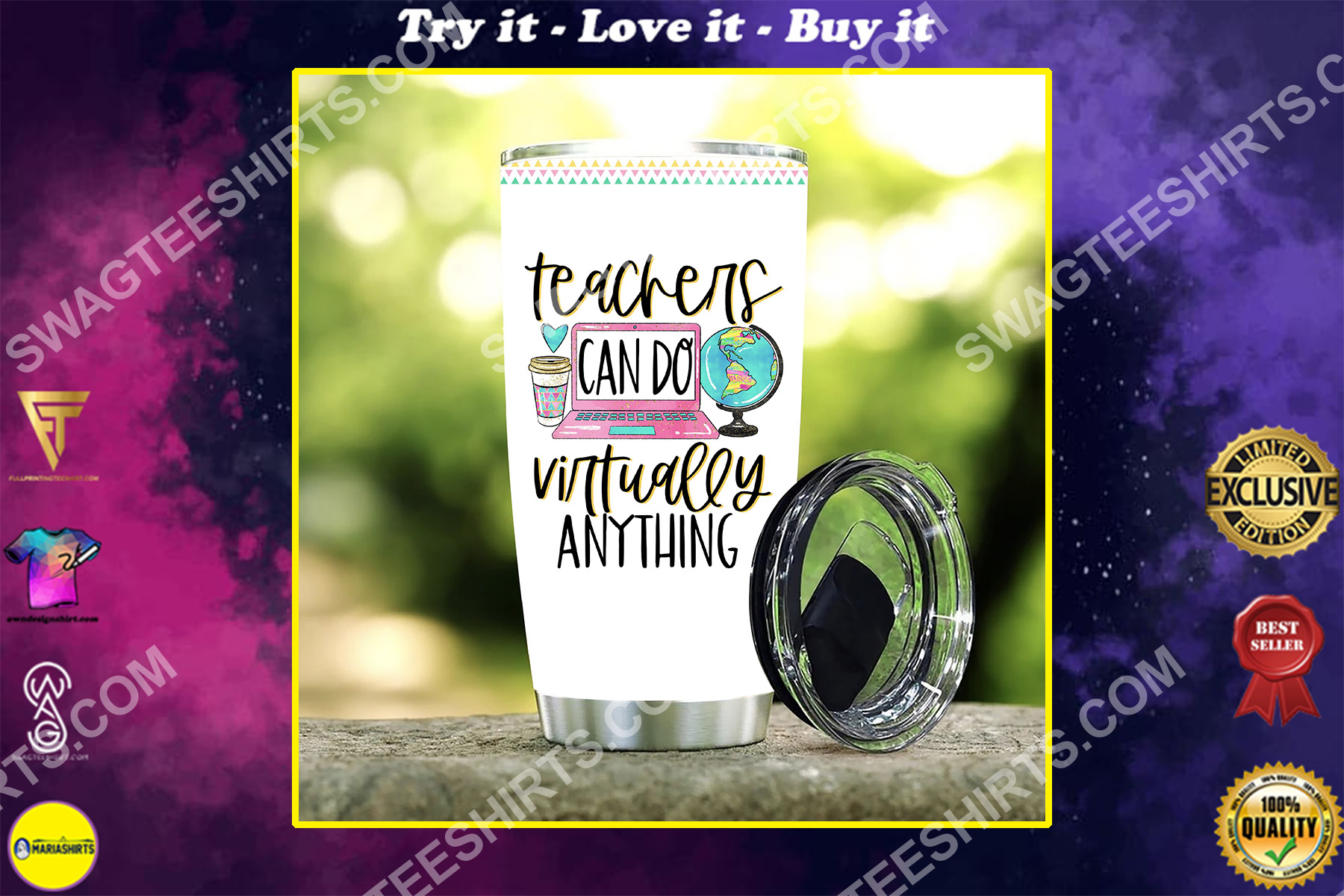 teachers can do virtually anything stainless steel tumbler