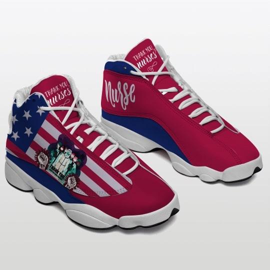 thank you nurse american flag all over printed air jordan 13 sneakers 2