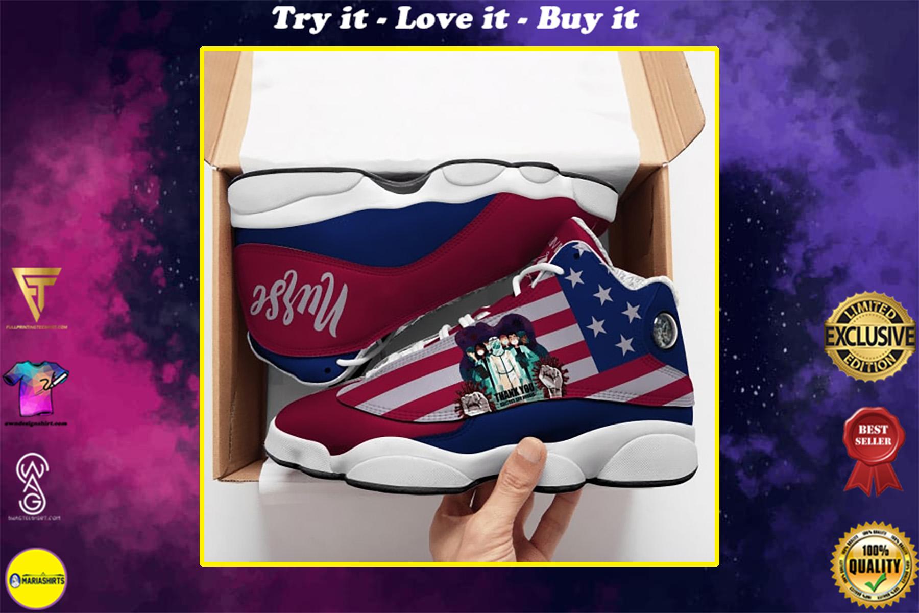 thank you nurse american flag all over printed air jordan 13 sneakers