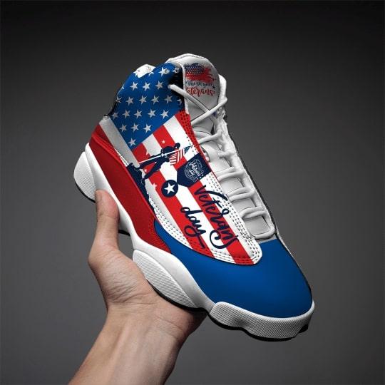 thank you veterans day american flag all over printed air jordan 13 sneakers 2