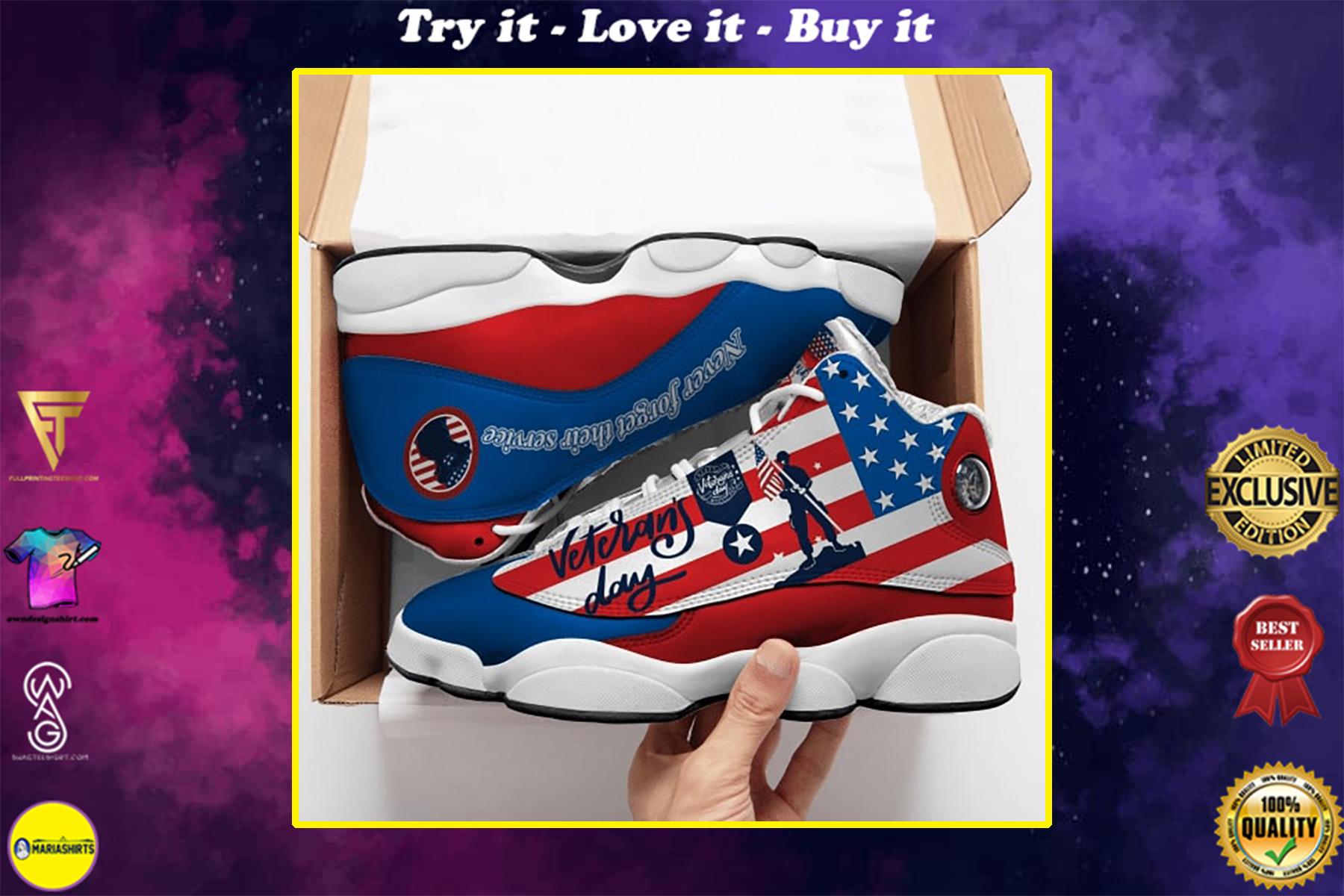 thank you veterans day american flag all over printed air jordan 13 sneakers