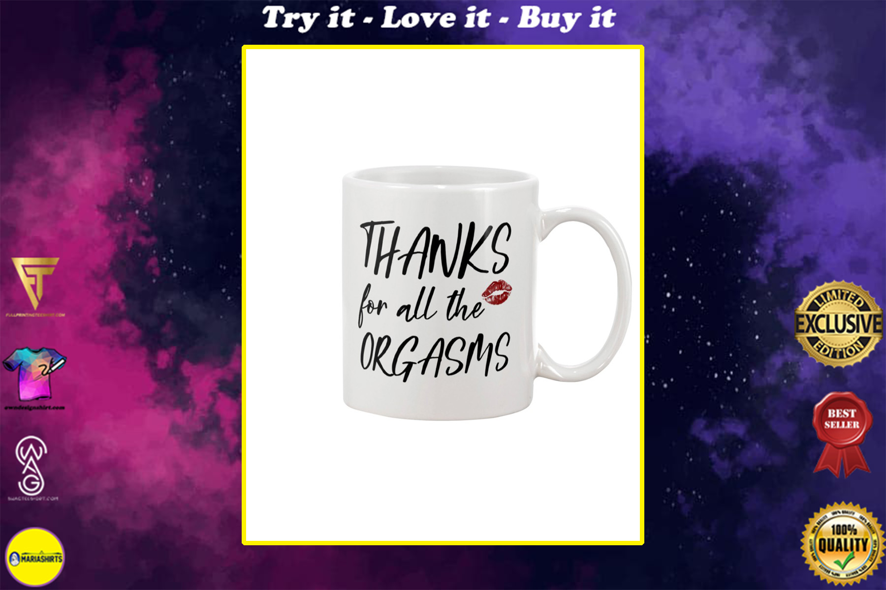 thanks for all the orgasms happy valentine's day mug