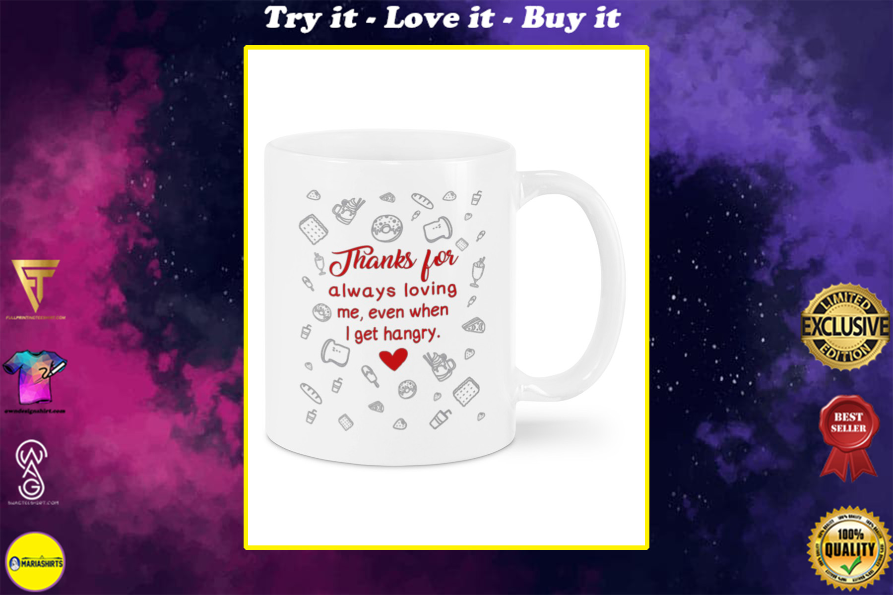 thanks for always loving me even when i get hangry happy valentine's day mug